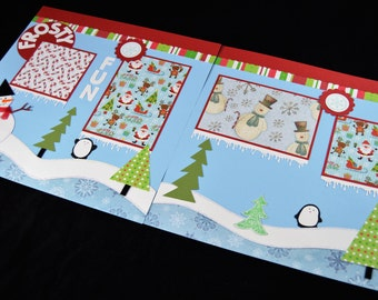 12X12 Frosty Fun Scrapbook Page, Winter Premade Scrapbook Page, Snow Scrapbook Page, 12X12 Scrapbook Layout, Scrapbook Premade Page