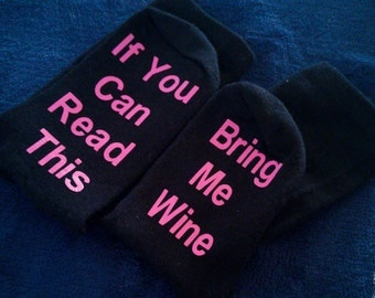 Bring me wine socks - wine sock - funny gift for her - wine lover gift - stocking stuffer