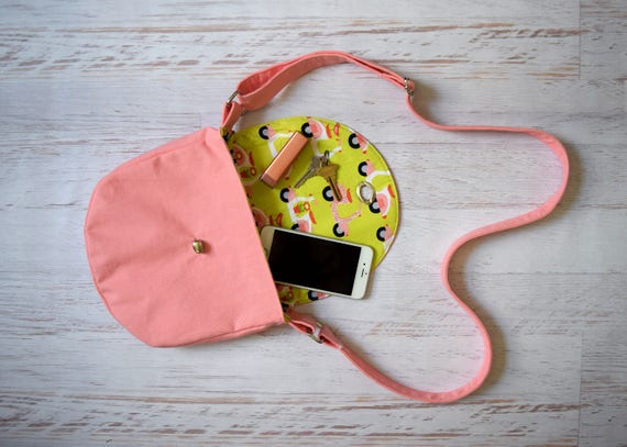 Pink Canvas, Lime Green Crossbody Bag, Organic Scooter Print Lined Purse w/Turn Lock Close. Handmade Cross body w/Adjustable Strap & Pocket