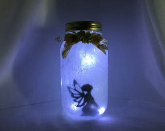 Fairy In A Jar Lantern With Sage Green Flower: String Of Battery Powered LED Lights Included