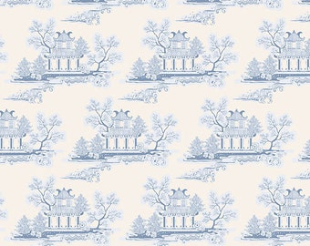 Tilda Fabric China Blue. Patchwork and Quilt Fabric. Designer Sewing Fabric, Fat Quarter Chinese Pattern Fabric. Doll Making Materials.