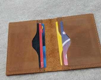 Distressed leather card wallet Leather credit card Case Leather business card holder