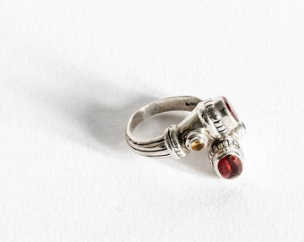 Silver Garnet and Citrine Ring, Gemstone Ring, Silver Ring