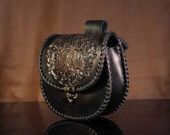 Leather sporran, scottish bag, custom, larp, brown
