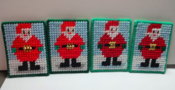 Handmade Plastic Canvas Standing Santa Gift Card Holder. Can Be Hung On Tree.