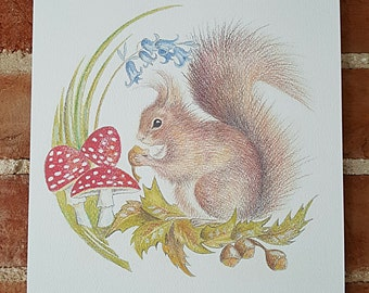 Squirrel A4 print. Squirrel art. Squirrel drawing. Squirrel painting. Picture of a squirrel. Handdrawn squirrel.Original art. Squirrel image