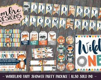 Woodland Baby Shower Decor, Woodland Party, It's a Boy, Wild One, Baby Shower, Printable Decorations, Forest Friends, Printable Package