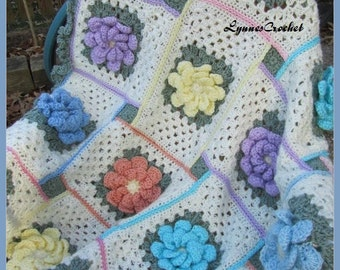 Crocheted Granny Afghan with Pretty Fluffy Flowers . . .