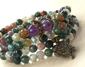 Mala 108 Beads Zen,Tibetan Zen Mala 108,Indian Agate Prayers,Mala Tree of Life,108 Arbol de la Vida,Yoga Amethyst Mala,Bohemian Jewelry 108