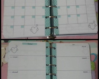Pocket set refill plannermonthly & weekly insertno dataSet refill planner mensile e settimanale, perpetui pocket/small