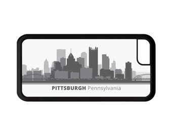 Pittsburgh Pennsylvania Skyline Personalized Phone Case - iPhone 7, 6, 6s Plus, 5c, 5 5s SE, Galaxy S8 S8 Plus S7 S6 Edge S5, rubber, PA