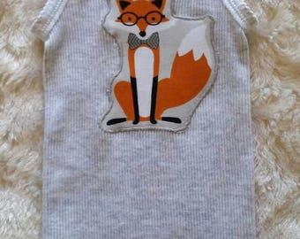 SALE! Applique singlet 'Dapper fox'