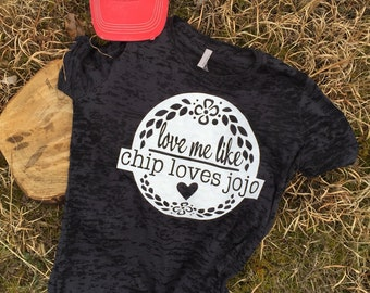 Love me love chip loves jojo Burnout style tee FREE SHIPPING