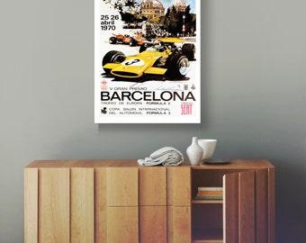 Barcelona Grand Prix Poster 1970 Poster F1 Poster Formula 1 poster Formula 1 Print F1 Car racing Print Motor Racing Poster