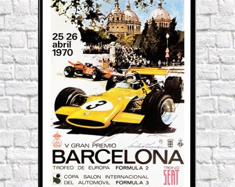 Barcelona Grand Prix Poster 1970 Poster F1 Poster Formula 1 poster Formula 1 Print F1 Car racing Print Motor Racing Poster