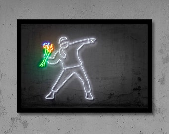 Hooligan Wall Art Banksy Art Banksy Print Neon Art Gift for Him Neon Print Neon Wall Street Art Banksy Wall Décor Neon Sign Banksy Neon