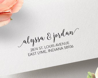 Couple's Wedding Address Stamp, Curly Font Return Stamper, Calligraphy Writing, Elegant Wedding Invitation Stamp, Wood or Self Ink, Custom