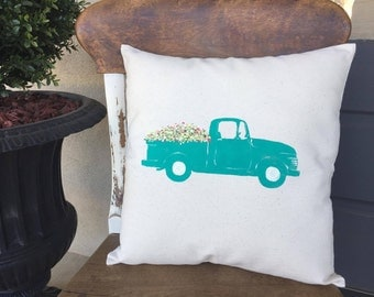 Vintage Truck/Vintage Truck Pillow/Spring Flowers/Spring/Farm Truck/Farm House