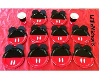 Mickey Mouse Birthday Party Cups and D.I.Y. Plates, Mickey Mouse Baby Shower Cups and Plates,Mickey Mouse Clubhouse Tableware