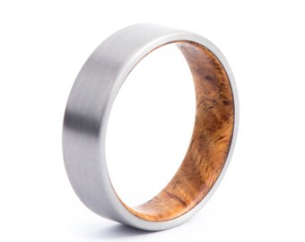 Amboyna Burl Wood With Titanium Ring: Natural Feel. Wedding And Engagement. For Men And Women. Custom Made.