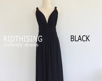 Maxi Black Bridesmaid Dress Prom Dress Convertible Dress Infinity Dress