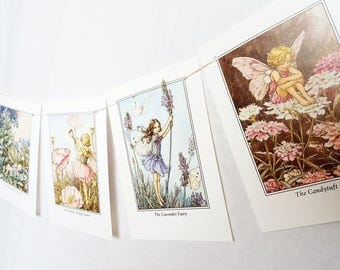 Flower Fairies of the garden children's bunting up-cycled children's book garland nursery gift girls room decor Cicely Mary Barker  #m102