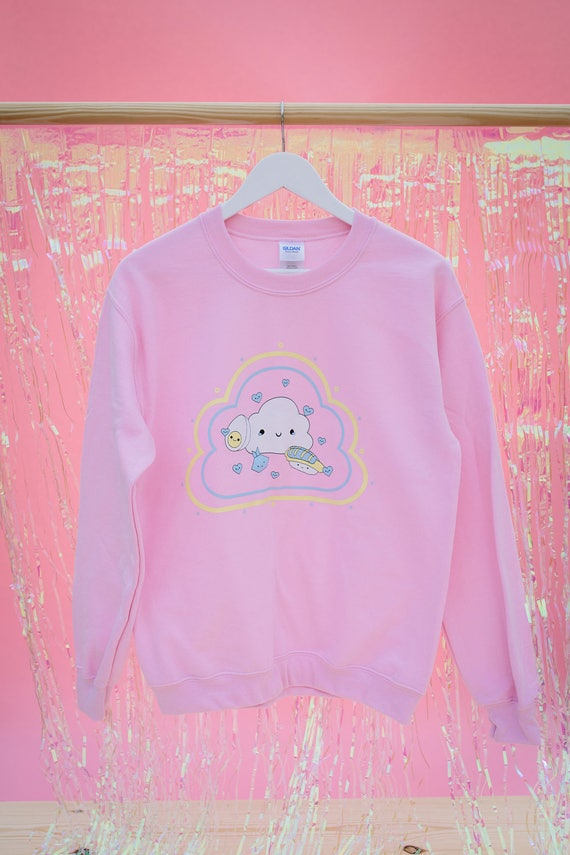 FromNicLove Cute Kawaii Cloud with Faces Jumper