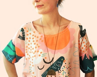 Prickly Feathers 100% silk ladies top