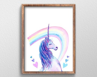 Unicorn - Unicorn Art - Unicorn Party Birthday - Print Art - Unicorn Poster - Rainbow Art - Rainbow Birthday Party Decor - Unicorn Print