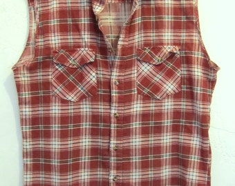 C0UPON C0DE Sale!!A Men's Vintage 80's,SLEEVELESS Red Plaid Flannel Country FESTIVAL Shirt By HABAND.M