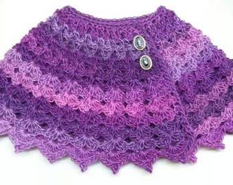 Crochet Purple Petunia Baby Shawl Pattern 12-24m DIGITAL DOWNLOAD ONLY
