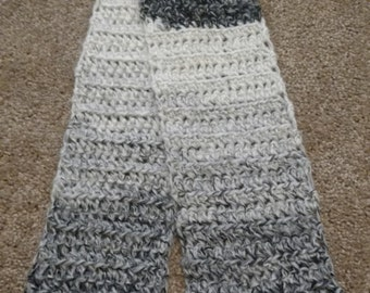 Gray, off-white and Black Scarf