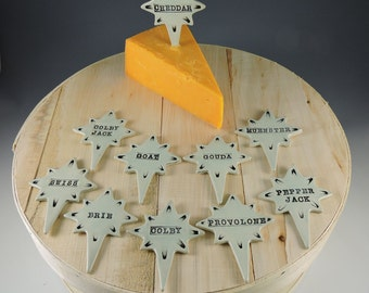 Ceramic Cheese Markers Colorful Aqua Set of 10 Handmade Assorted Decorative Cheese Stakes