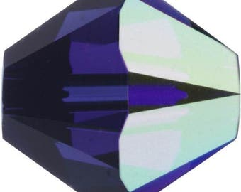Swarovski Crystal Bicone Beads 5328 - 3mm 4mm 6mm 8mm - Dark Indigo AB 2X