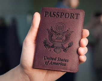 Burgundy Leather Passport Holder - Passport Cover - Passport Case