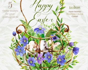 Easter watercolor clipart, floral elements, feathers, eggs, violet, viola, spring flowers, green leaves, basket, cage, suite, greeting card