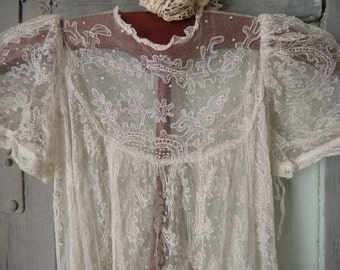 Gorgeous christening from France cream-colored tulle lace french boudoir shabby chic Bohème