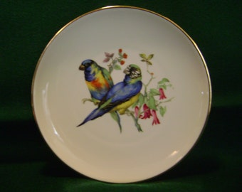 Lovely Porcelain Bird Plate - JKW Western Germany Mark