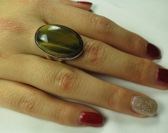 Tiger eye ring; size 7.25 set in 92.5 sterling silver,free shipping