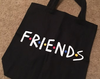 Friends Black Hand-Painted Tote Bag ~ FRIENDS TV Show