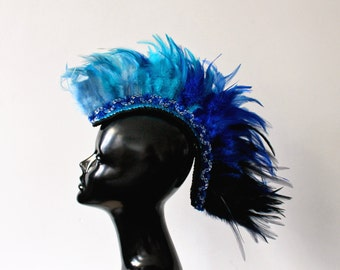 Blue ombre feather mohawk