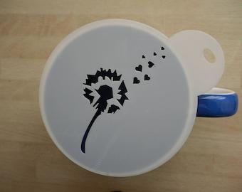 Unique bespoke new laser cut dandelion coffee stencil