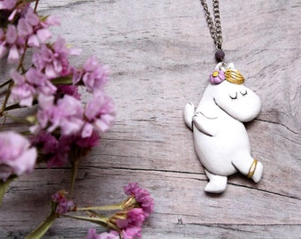 Snorkmaiden, Moomin Necklace,  Snorkmaiden Polymerclay Necklace, Tove Jansson's Heroes, Girl Necklace, Moomintroll Pendant