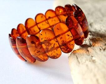 Cognac amber bracelet, pure amber jewelry, organic amber bracelet, elegant amber bracelet, nature amber bracelet, natural Baltic amber