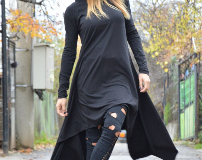 Maxi Black Hooded Tunic, Plus Size Clothing, Cotton Dress, Extravagant Tunic Top, Asymmetrical Oversize Top By SSDfashion