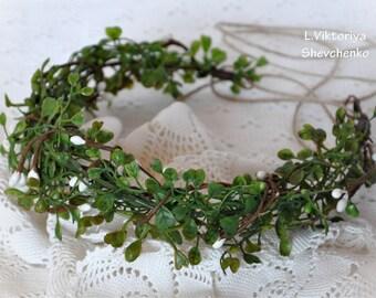 Ready to ship Wedding flower crown Leaf Headband Floral crown Flower hair wreath Flower halo Woodland wreath Bohemian Flower crown Leaf LV12