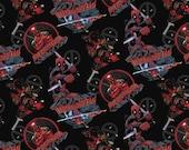Deadpool Character Toss Cotton Woven, Deadpool Fabric, Marvel Fabric, Marvel Fabric Material, Superhero Fabric, Cotton Woven Fabric