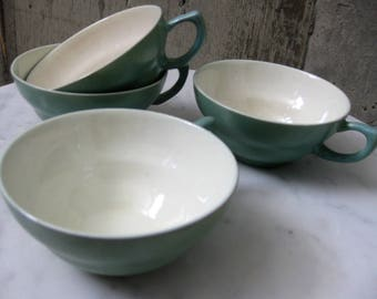 Vintage Green Speckled Cups Irridescent Interior Atomic 1950s Mid Century Modern