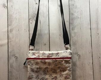 Crossbody bag Alpine Leaves and Berries HANDMADE - Free Shipping