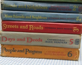 Scott Foresman & Co. Cathedral Basic Edition Readers Set of 6, 1942